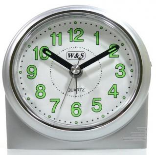 W&S 200901 Wecker Uhr silber-weiß leise Sekunde Analog Licht Alarm