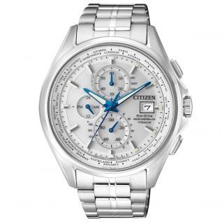 Citizen AT8130-56A Funkuhren Uhr Herrenuhr Titan Chrono Datum silber