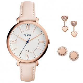Fossil ES4202SET Geschenkebox Uhr Damenuhr Lederarmband Datum rosa