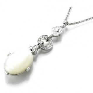 Giorgio Martello 906829430 Damen Collier Silber mit synth. Perlmutt und Zirkonia weiß