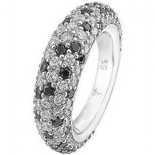 Joop JPRG90566C Damen Ring Silber Audrey Zirkonia weiß schwarz Größe 53 (17, 0 mm)