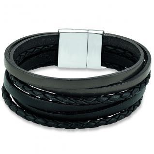 s.Oliver SO1030/1 Herren Armband Edelstahl Leder braun schwarz 21 cm