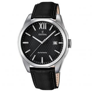 FESTINA F16885/4 Automatic Uhr Herrenuhr Lederarmband Datum schwarz