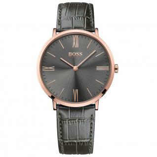Hugo Boss Jackson Uhr Herrenuhr Lederarmband grau rosé