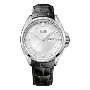 Hugo Boss 1512875 Uhr Herrenuhr Lederarmband Datum Schwarz