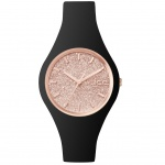 Ice-Watch ICE GLITTER Black Rose Gold Small Damenuhr Kautschuk schwarz