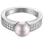 Esprit ESRG91587C Damen Ring Silber precious glam sunset mit Zirkonia weiß u. synth. Perle lavendel Größe 53 (17, 0 )