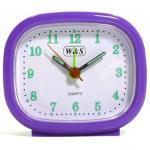 W&S 600105 Wecker Uhr lila-weiß Analog Licht Alarm