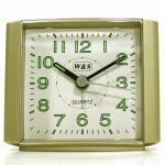 W&S 201118 Wecker Uhr champagner-weiß leise Sekunde Analog Licht Alarm