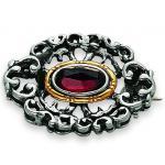 Tom Hill 31.9021 Brosche Silber Trachtenschmuck Granat rot
