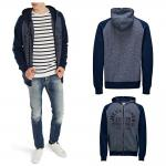 Jack & Jones Herren Sweater 12086126 DINO Sweat Zip Hood Blau Gr. XL