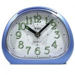 W&S 201119 Wecker Uhr blau-weiß leise Sekunde Analog Licht Alarm