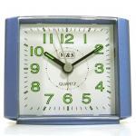 W&S 201118 Wecker Uhr blau-weiß leise Sekunde Analog Licht Alarm