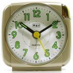 W&S 200601 Wecker Uhr champagner-weiß leise Sekunde Analog Licht Alarm