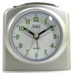 W&S 02028 Wecker Uhr silber-weiß Analog Licht Alarm