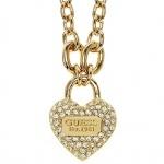 GUESS Damen Collier Herz Metall vergoldet Zirkonia weiß 50, 5 cm