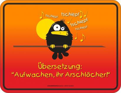 Früher Vogel Blechschild Aufwachen Arschlöcher Fun Schild Alu geprägt bedruckt