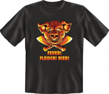 Grill T-Shirt - Feuer Fleisch Bier