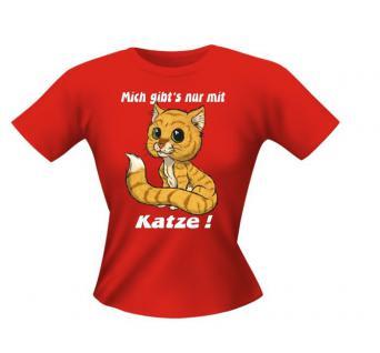 Lady T-Shirt - Mich gibts nur mit Katze - Vorschau