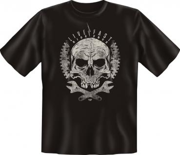 Biker T-Shirt - Live Fast Ride Free Skull - Vorschau 1