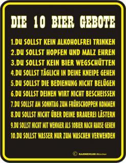 Fun Blechschild - Die 10 Bier Gebote