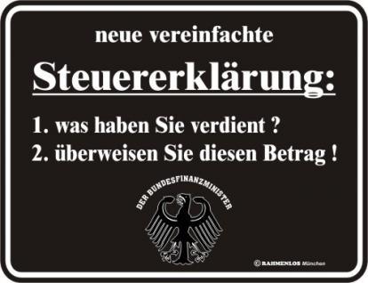 Fun Blechschild - Steuererklärung - Vorschau