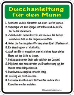Fun Blech Schild - Duschanleitung Mann - Vorschau