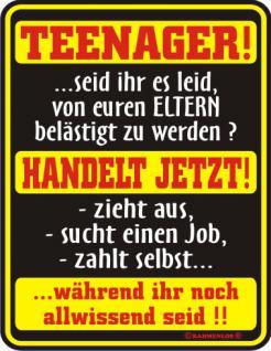 Fun-Blechschild - Teenager handelt jetzt - Vorschau