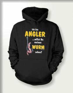 Angler Sweatshirt mit Kapuze - Angler mit Wurm
