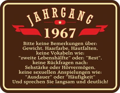 Geburtstag 50 Jahre Blechschild Jahrgang 1967 Fun Schild Alu geprägt bedruckt