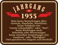 Geburtstag Schild - Jahrgang 1955 Blechschild