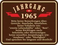 Geburtstag 50 Schild - Jahrgang 1965 Blechschild
