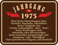 Geburtstag 40 Schild - Jahrgang 1975 Blechschild