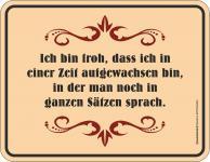 Fun Schild - Sprache in ganzen Sätzen Blechschild