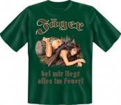 geil bedrucktes Jagd Fun T-Shirt Shirts - Jäger im Feuer - Geburtstag Geschenk