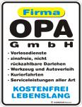 Fun Blechschild - Opa GmbH