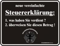 Fun Blechschild - Steuererklärung