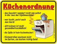 Fun Blech Schild - Küchenordnung