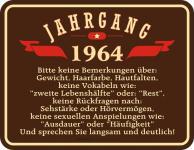 Blechschild Geburtstag - Jahrgang 1964 - Fun Schild Alu geprägt bedruckt