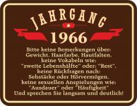 Geburtstag Blechschild Jahrgang 1966 Geschenk Fun Schild Alu geprägt bedruckt