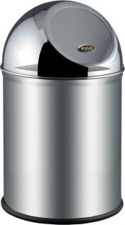 Alda Clean World Mülleimer-Papierkorb aus gebürstetem Edelstahl mit Pushklappe