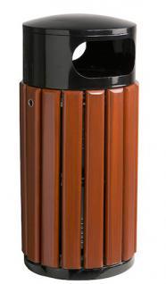 Abfallbehälter zum Aufstellen oder zur Bodenbefestigung aus Latten aus Kampferholz