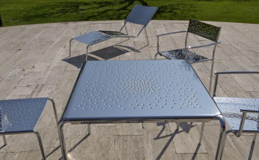 Tempesta hochwertiger Outdoor Tisch aus Edelstahl 1.4016 silber lackiert und behandelt - Vorschau 2