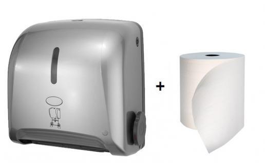 Hyprom Set Pull'n Dry Papierhandtuchspender Mini Silber + BestRoll ECOLABEL