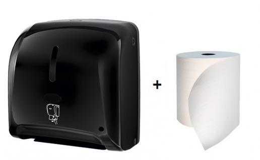 Hyprom Set Tear'n Dry Handtuchspender Mini Schwarz Automatisch + BestRoll Ecolabel