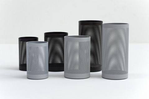 Graepel G-Line Pro FORATO Papierkörbe aus schwarzem Stahl 1.4016, 4 Größen + 4 Farben