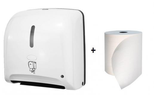 Hyprom SET Papierhandtuchspender Mini Weiss Automatisch + BestRoll Ecolabel