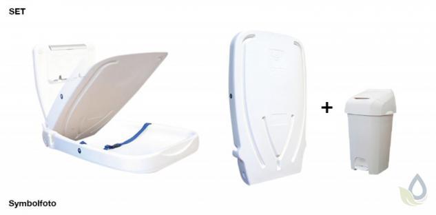 SET klappbarer Wickeltisch aus Kunststoff und weißer Nappease(TM) Windeleimer 60 Liter