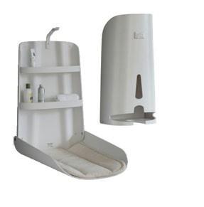 Set Holzwickelstation Nathi Klappbar + Windelspender + 2 Auflagen - Design Weiß