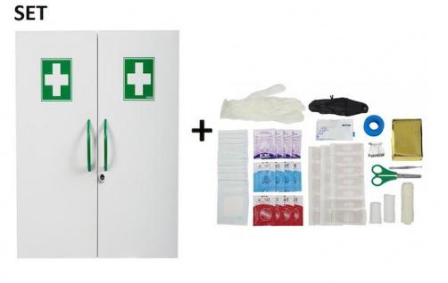 SET Rossignol Clinix Medizinschrank weiß mit 2 Türen und Verbrauchsmaterial